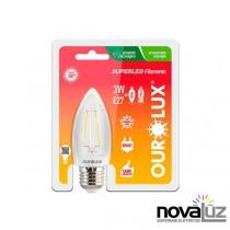 Lampada Super Led Ourolux Vela Clara E27 3w Fil 6400k - 1